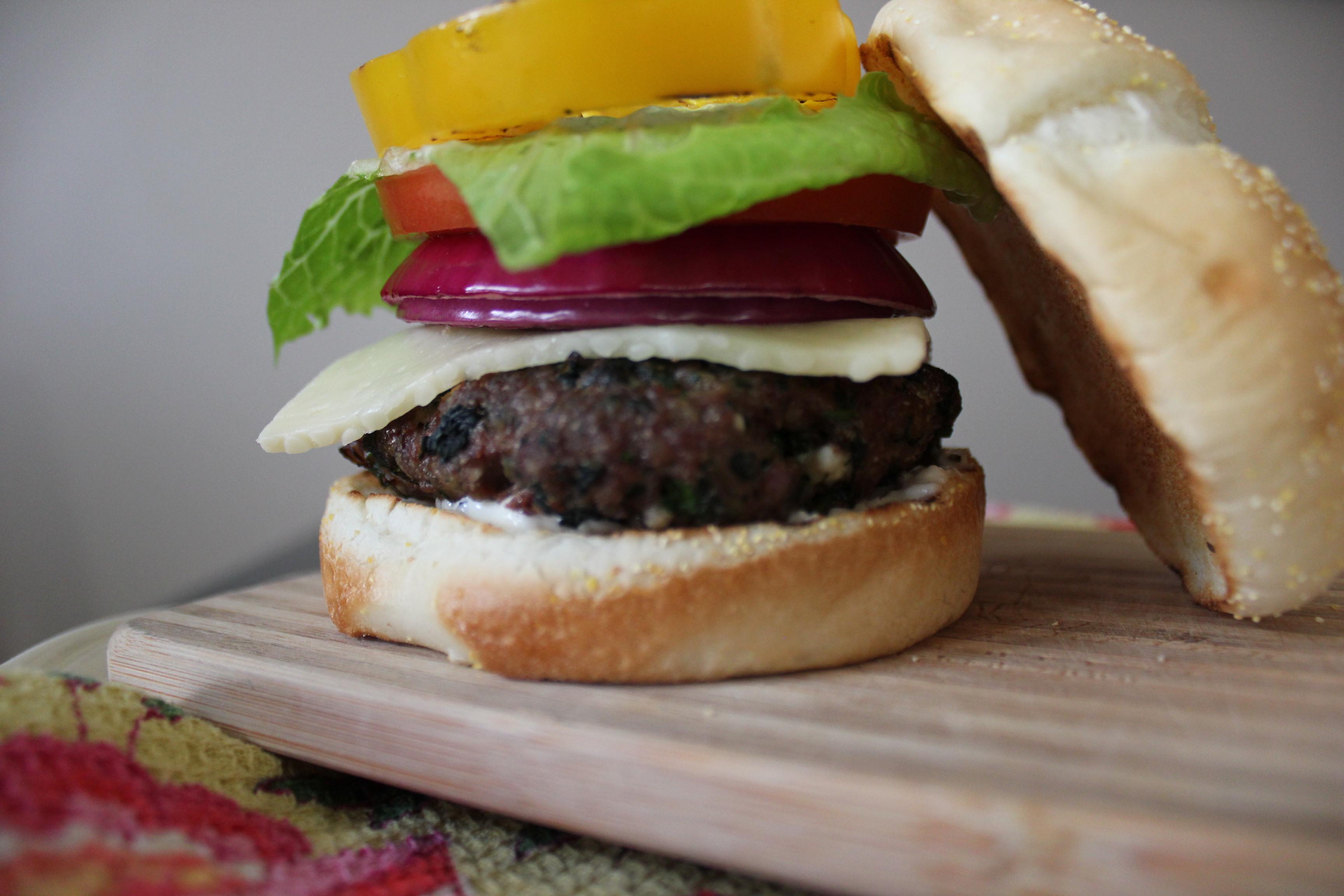 greek feta burger with spinach